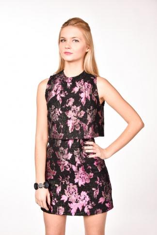 obrázok 1 TOPSHOP čierno-fialové metalické šaty