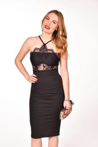 obrázok 1 Čierne koktejlové šaty okolo krku