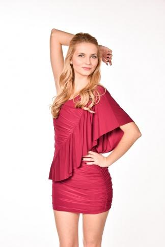 obrázok 1 ASOS červené šaty s volánom na jedno rameno