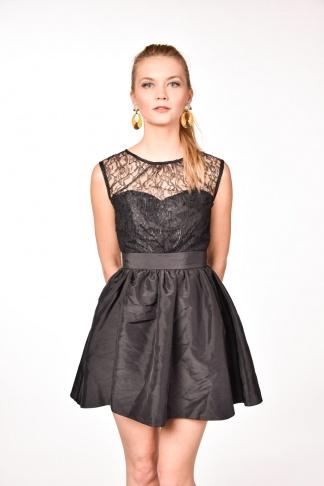 obrázok 1 Čierne koktejlové mini šaty