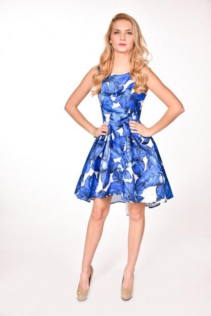 obrázok 4 modrobiele spoločenské šaty