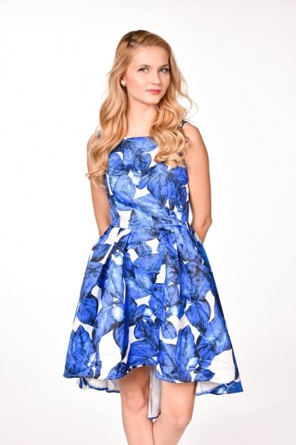 obrázok 1 modrobiele spoločenské šaty