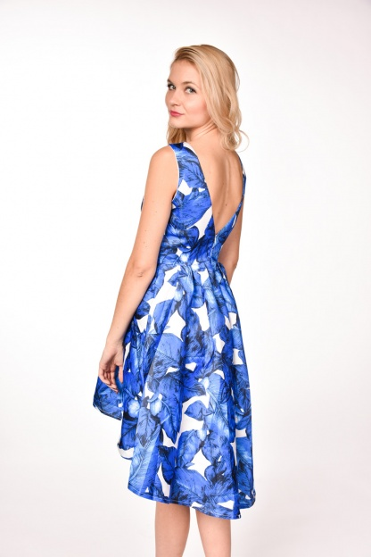 obrázok 2 modrobiele spoločenské šaty