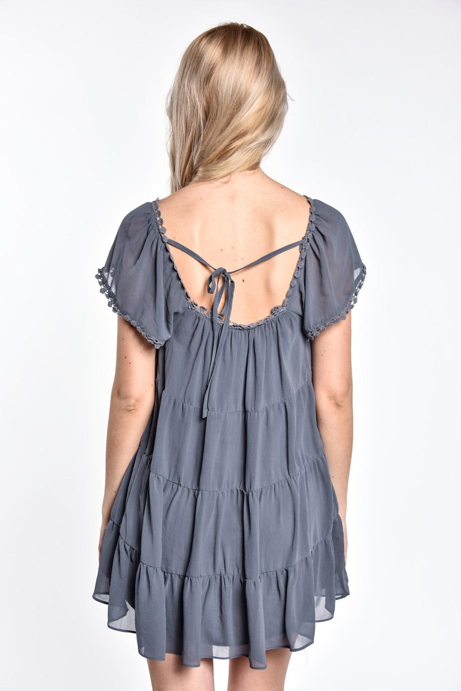 7f1f95601752 Modrošedé letné mini šaty - Shaty