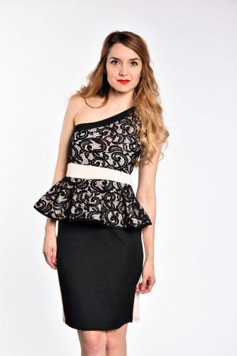 obrázok 1 Čierne čipkované peplum šaty na jedno rameno