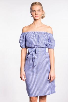 obrázok 1 Modré šaty s vreckami a opaskom