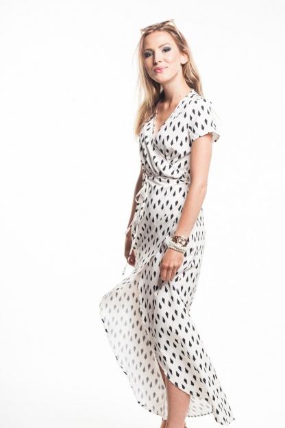 obrázok 1 Krémové zavinovacie maxi šaty