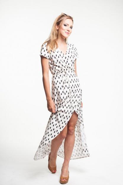 obrázok 4 Krémové zavinovacie maxi šaty