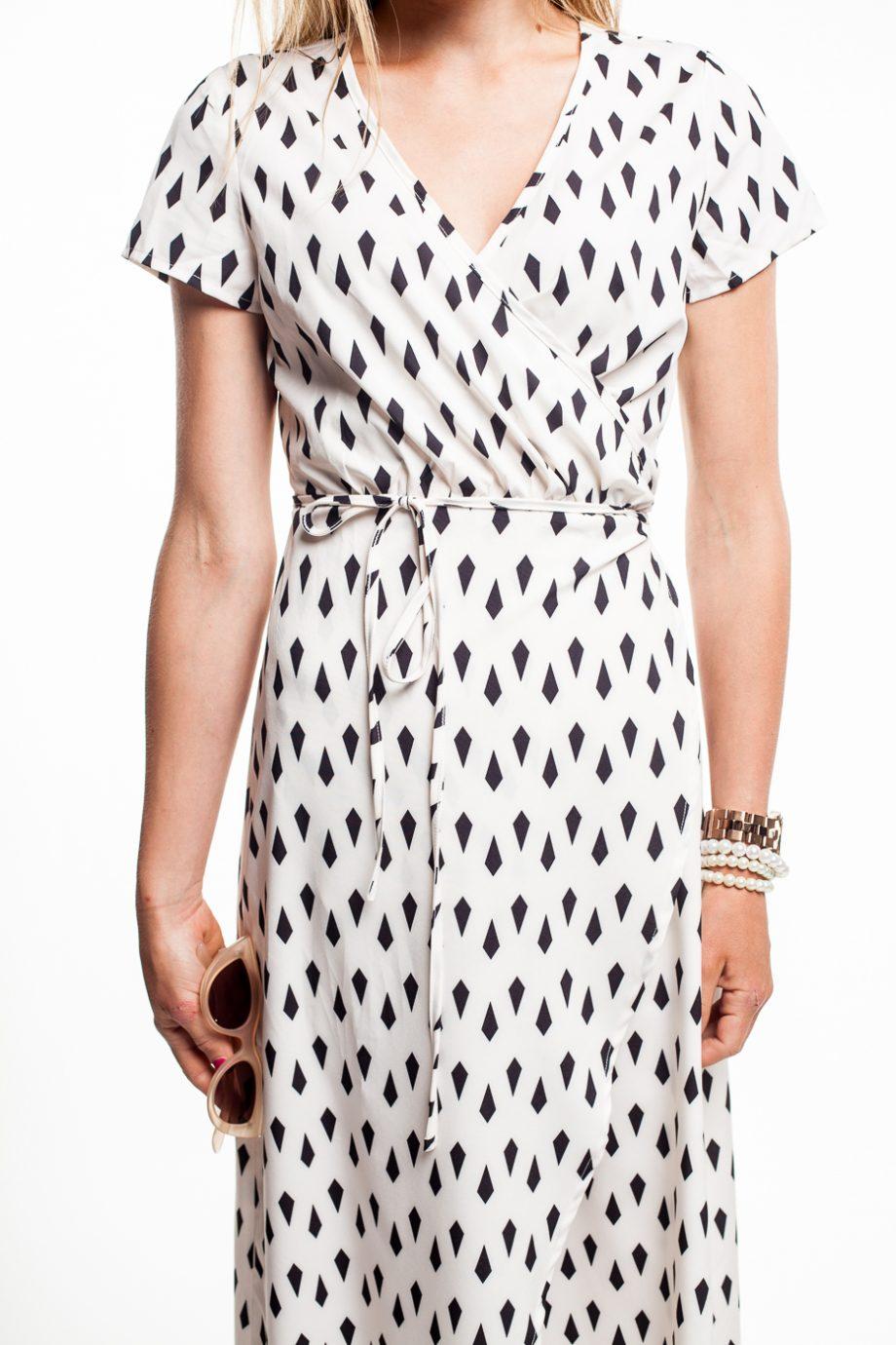 obrázok 2 Krémové zavinovacie maxi šaty