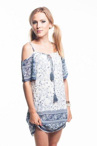 obrázok 1 Bielo-modré letné šaty na ramienka