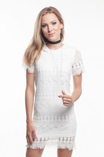 obrázok 1 Biele letné čipkované mini šaty