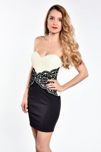 obrázok 1 LIPSY béžovo-čierne korzetové mini šaty
