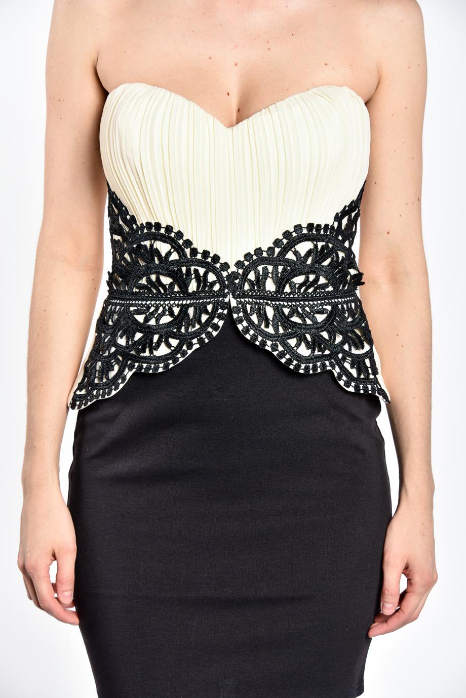 450226dc5687 obrázok 3 LIPSY béžovo-čierne korzetové mini šaty