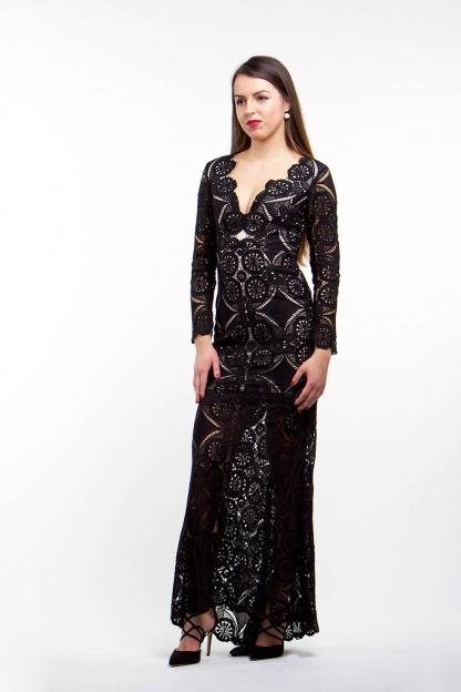 obrázok 2 Čierne dlhé čipkované šaty