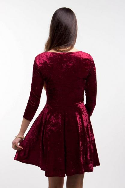 obrázok 5 Club L bordové semišové šaty