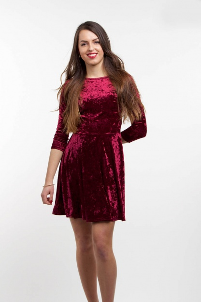 obrázok 2 Club L bordové semišové šaty