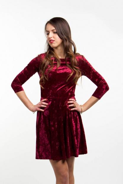 obrázok 3 Club L bordové semišové šaty