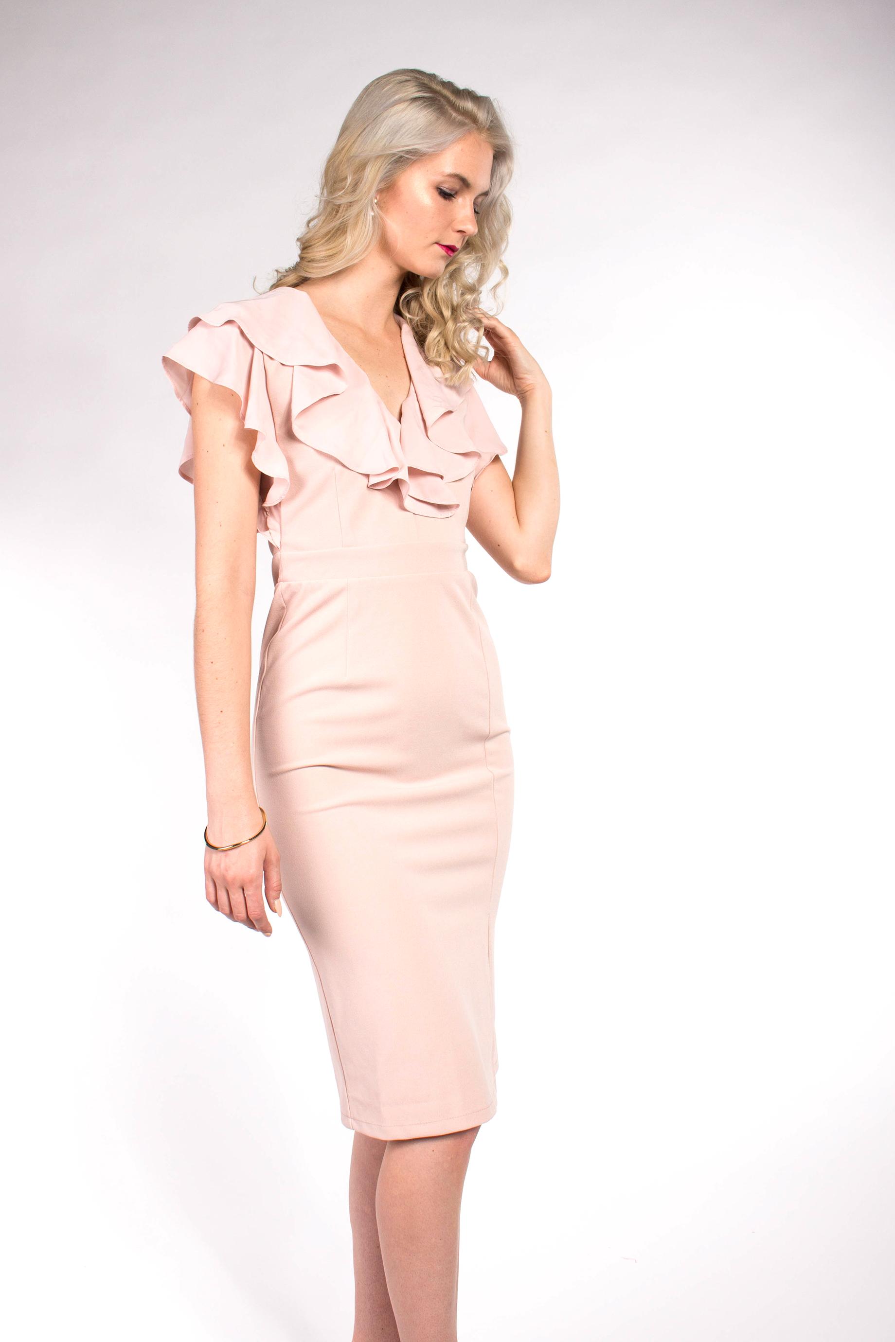 e0e63d3988c8 obrázok 6 ASOS ružové midi šaty s volánom