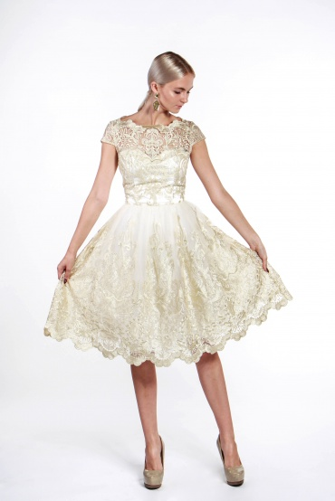 obrázok 5 Chi-Chi London béžovo-zlaté čipkované šaty