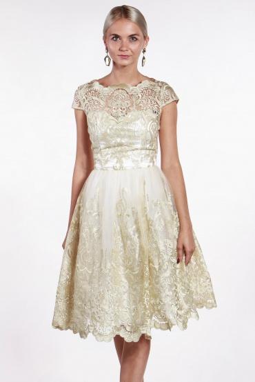 obrázok 1 Chi-Chi London béžovo-zlaté čipkované šaty