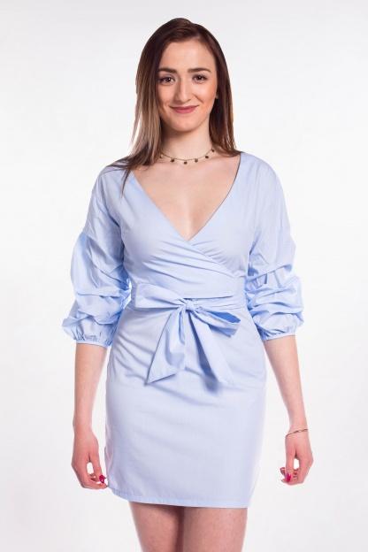 obrázok 1 Parallel Lines modré šaty s nariaseným rukávom