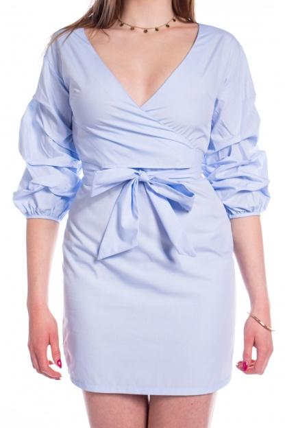 obrázok 2 Parallel Lines modré šaty s nariaseným rukávom