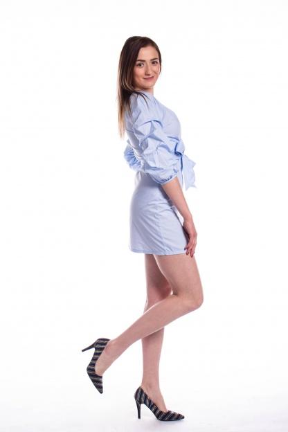 obrázok 4 Parallel Lines modré šaty s nariaseným rukávom