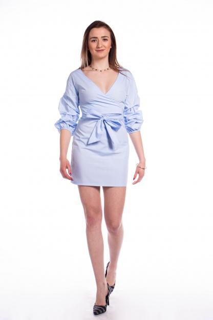 obrázok 5 Parallel Lines modré šaty s nariaseným rukávom