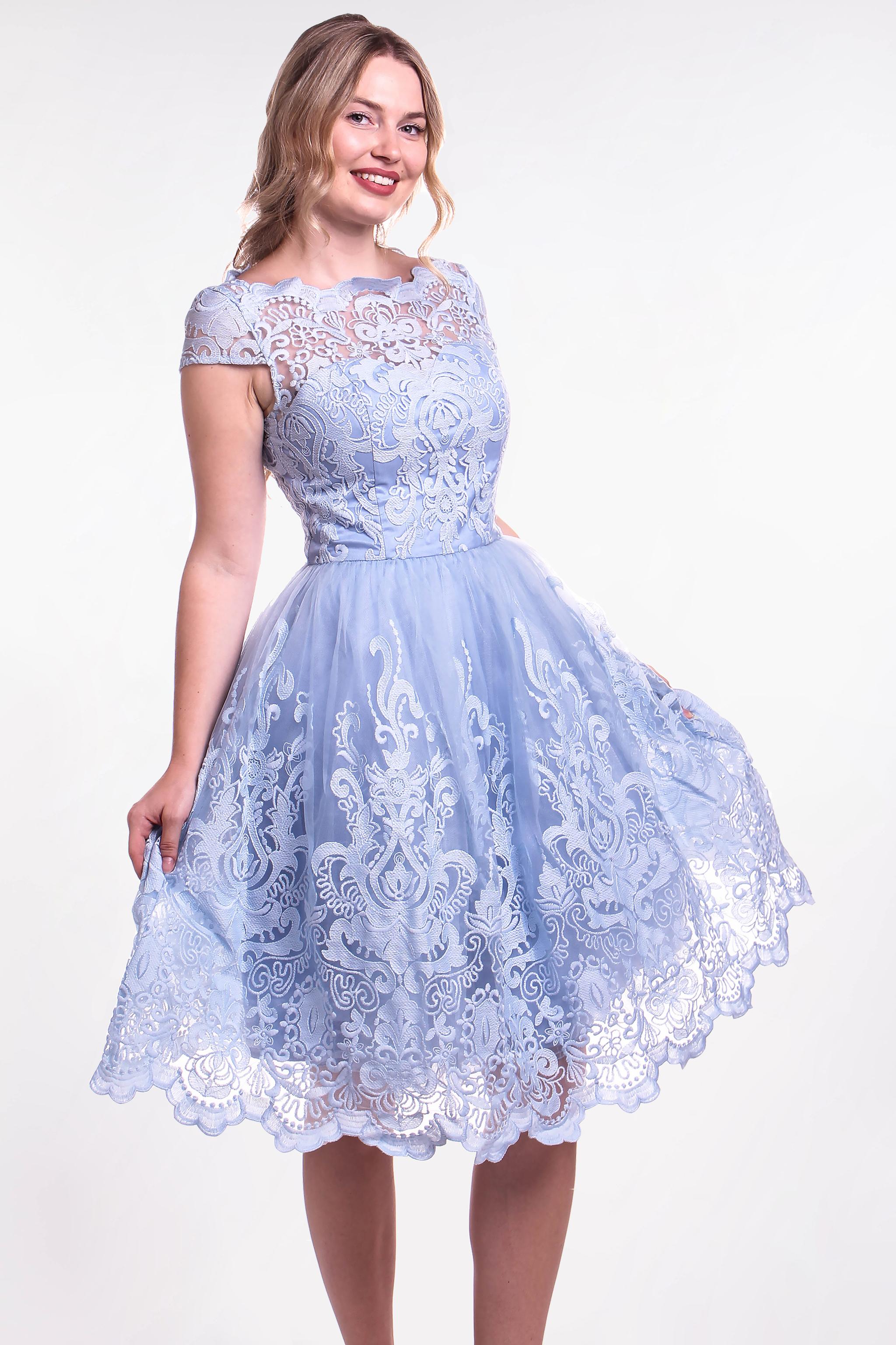 Chi-Chi London modré čipkované šaty (požičanie) - Shaty e93a1dfcedd