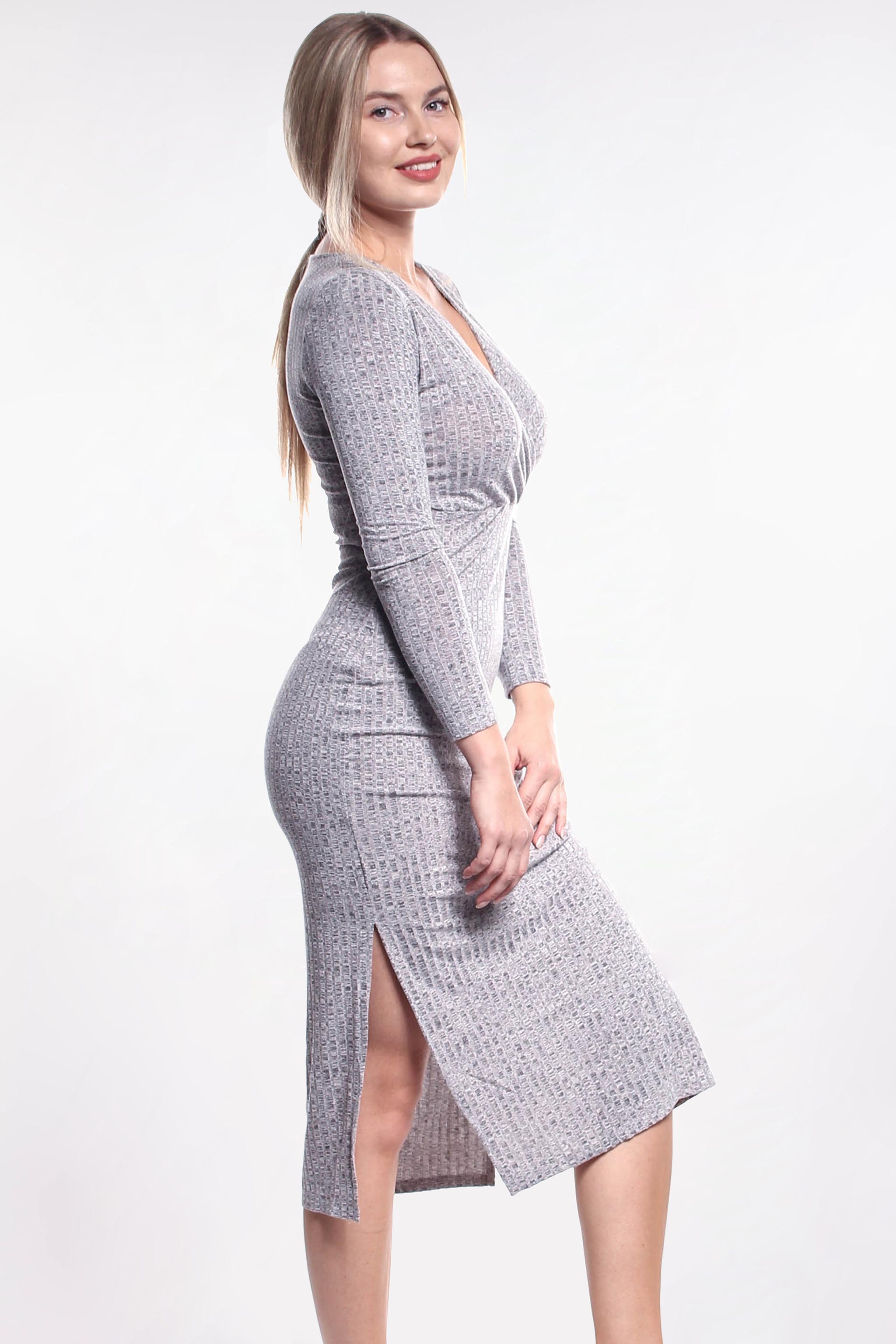 175509fcd2ea Obrázok 1 Šedé elastické midi šaty