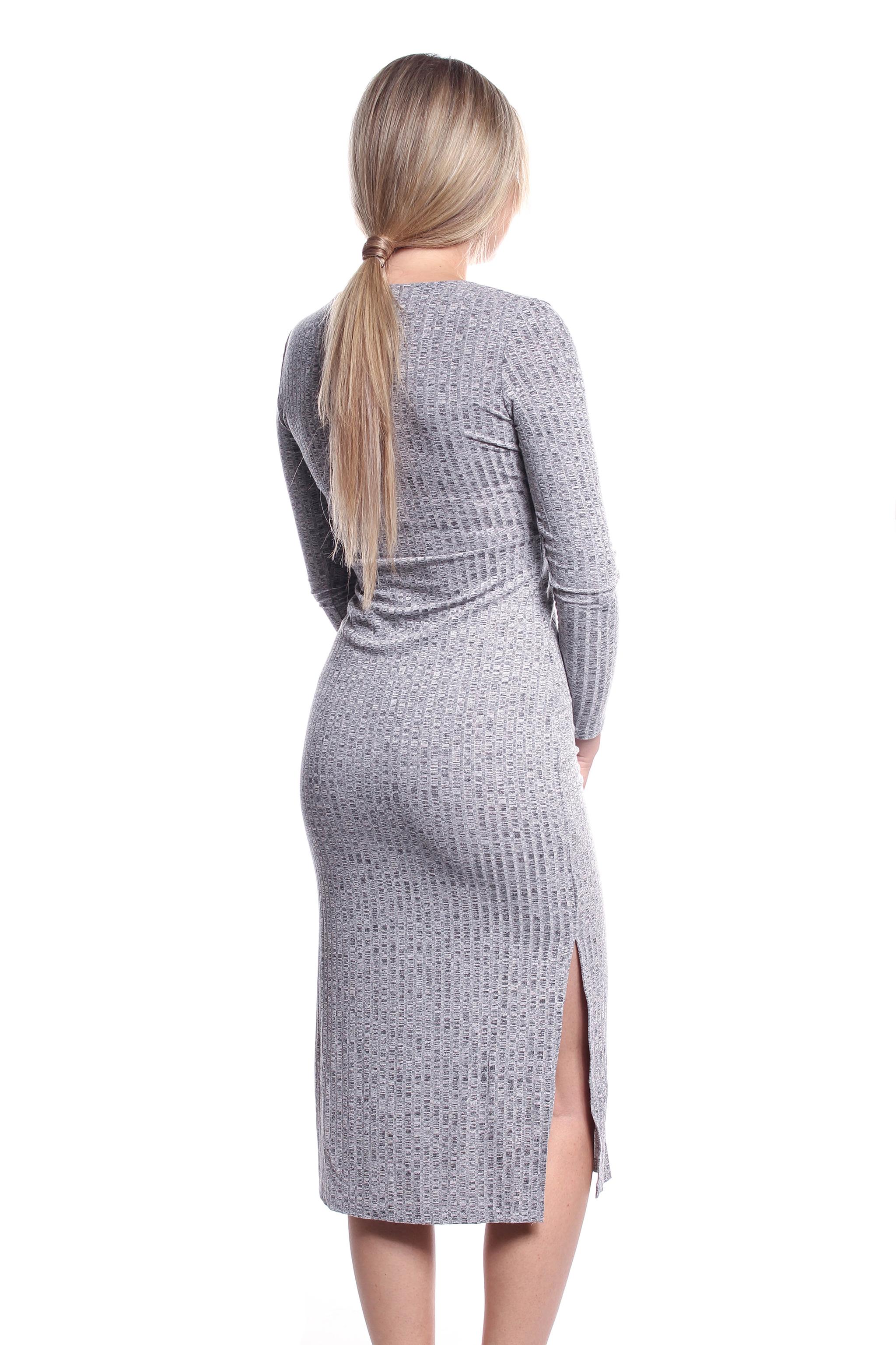 6012325e29e0 Obrázok 2 Šedé elastické midi šaty