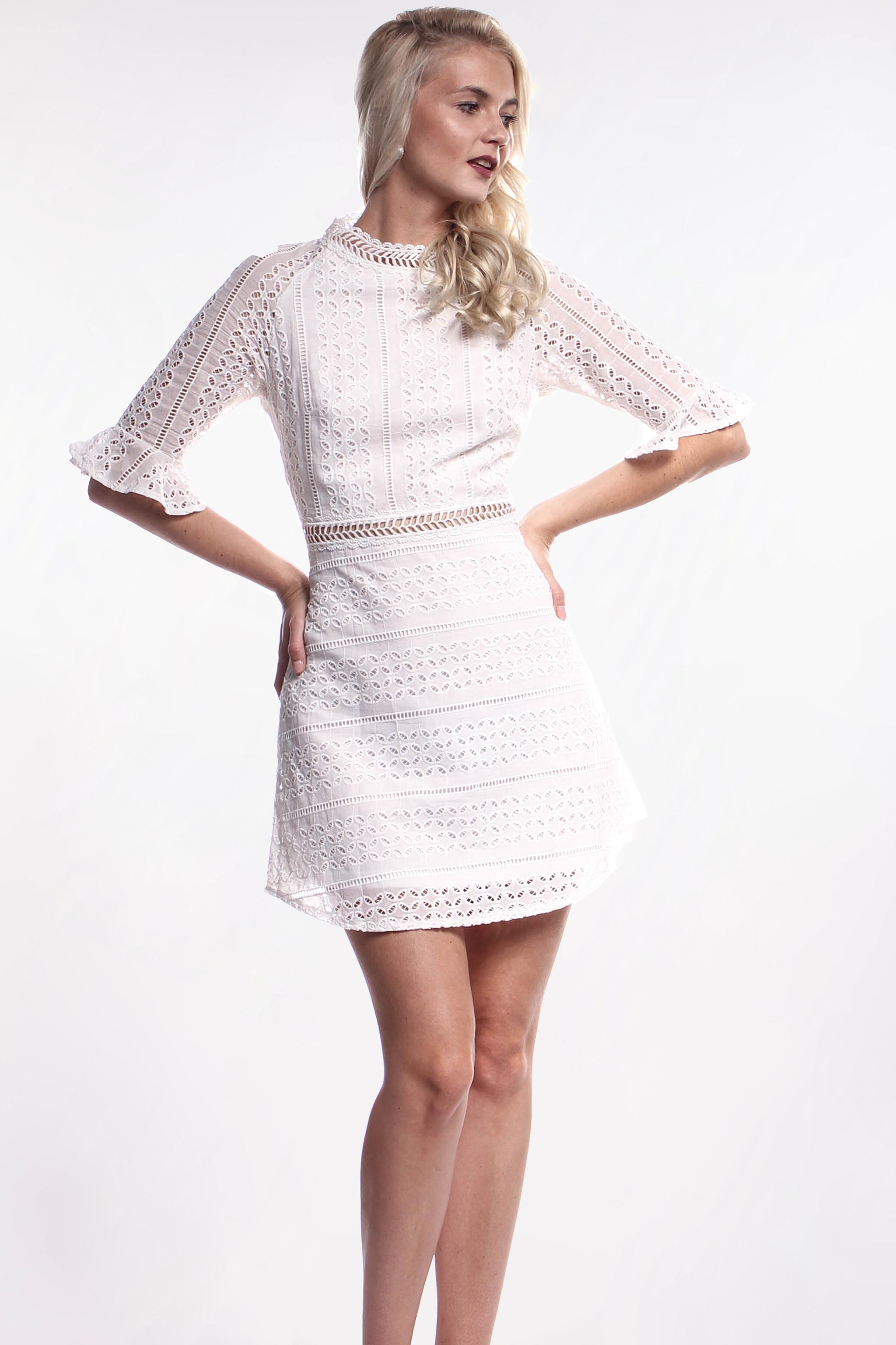 e30d697ad719 Obrázok 1 Biele háčkované mini šaty