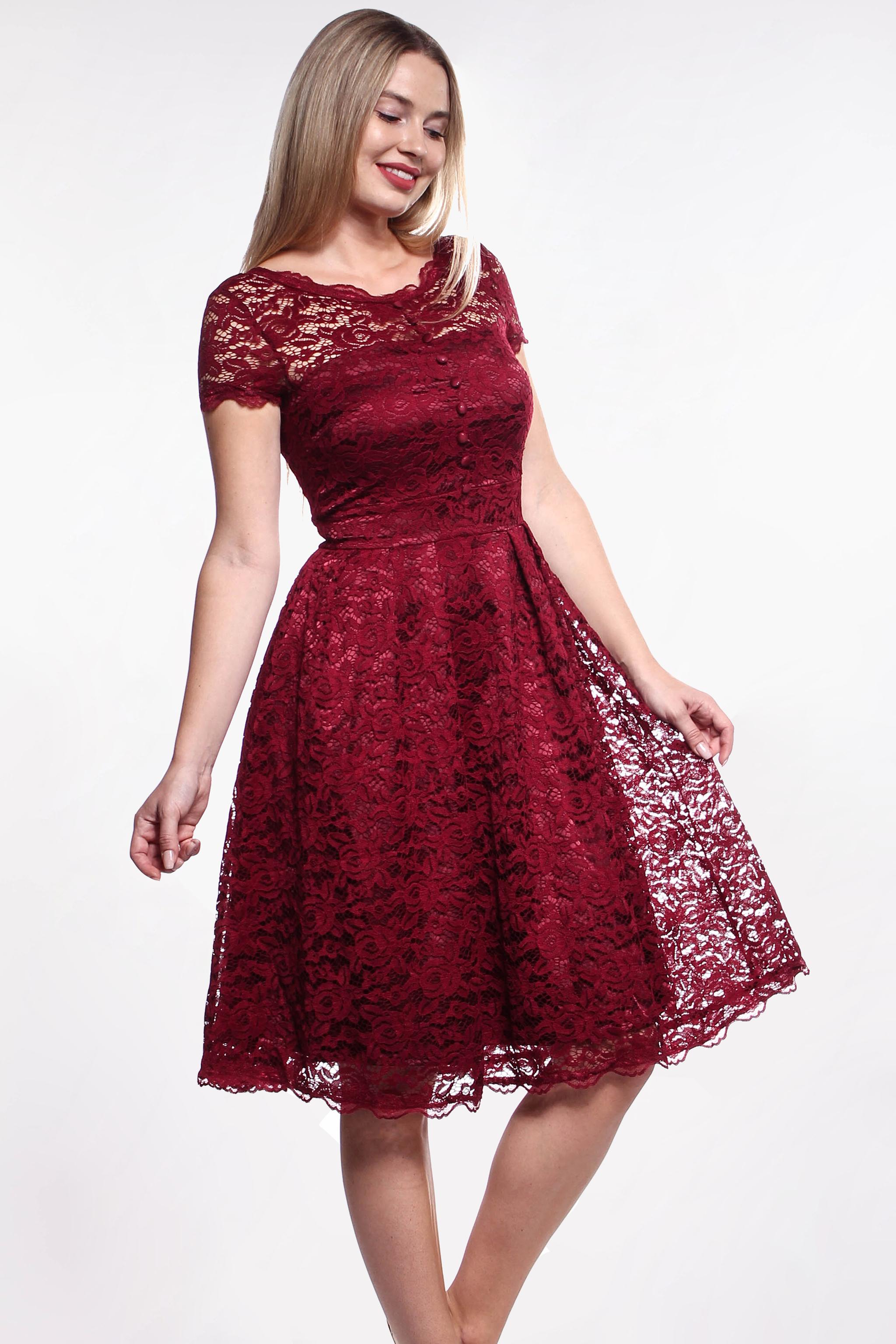 Bordové čipkované šaty (požičanie) - Shaty 8bfadc94b7c
