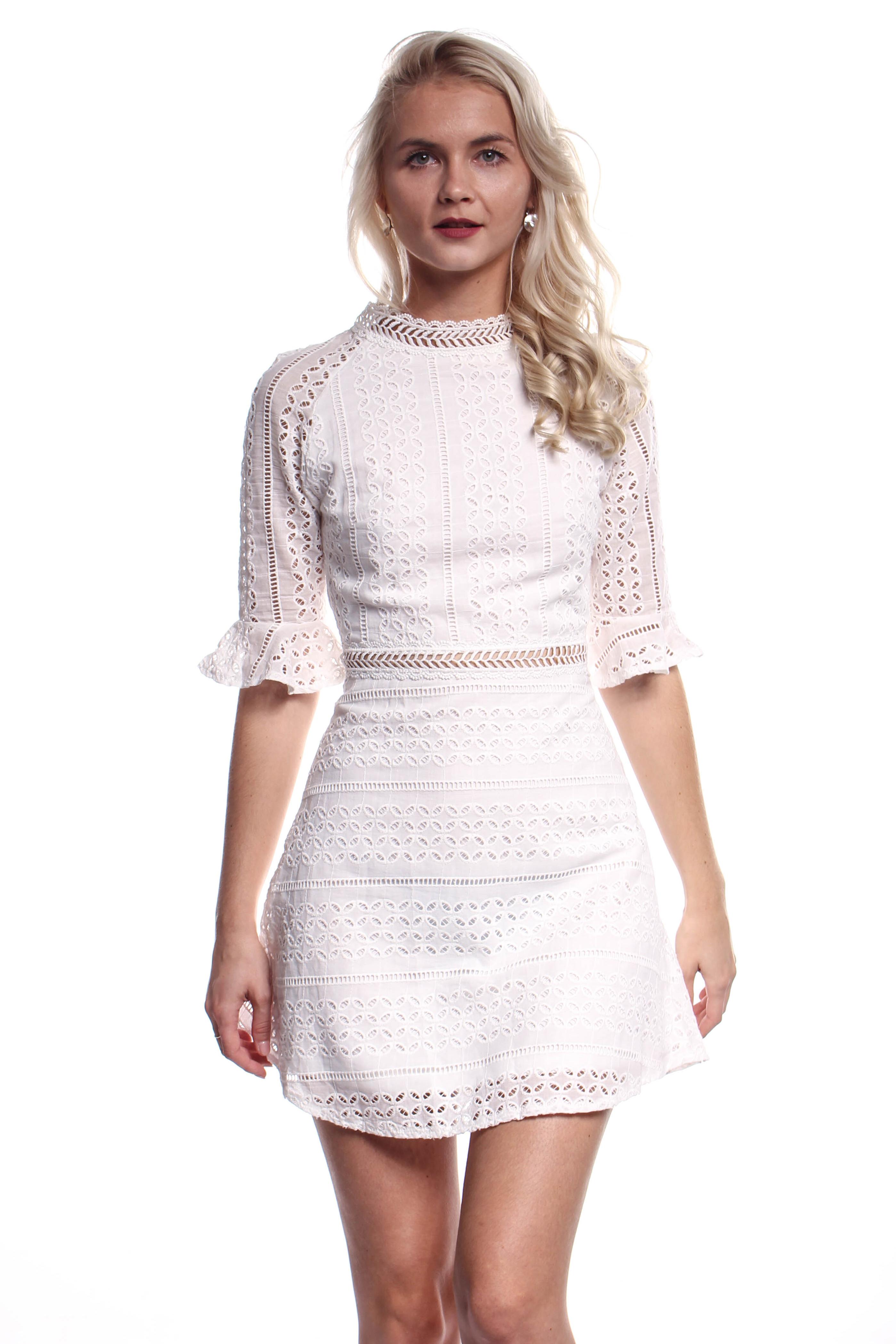 6afce4e60299 Obrázok 2 Biele háčkované mini šaty