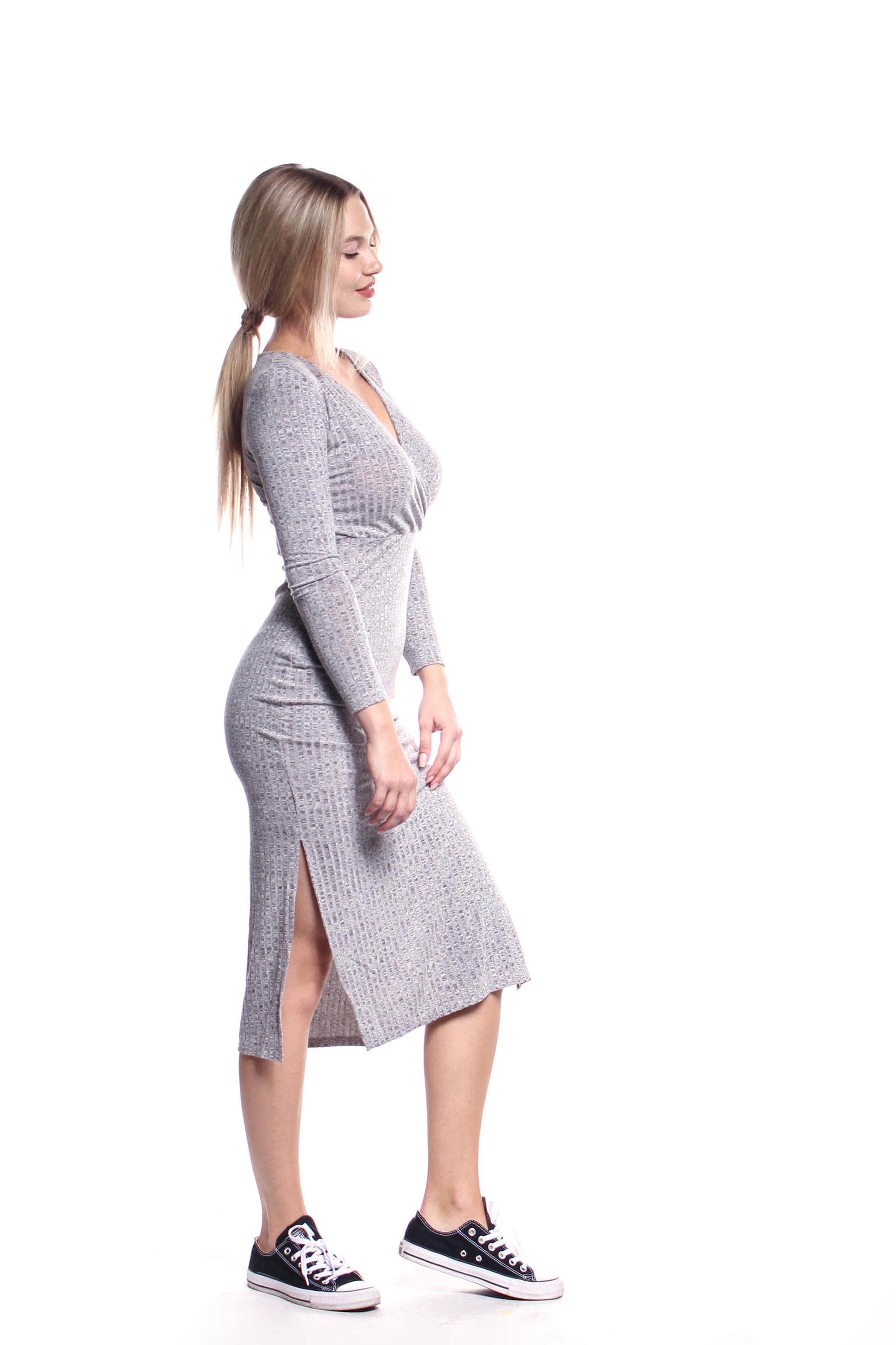 221eedc1d18e Obrázok 4 Šedé elastické midi šaty