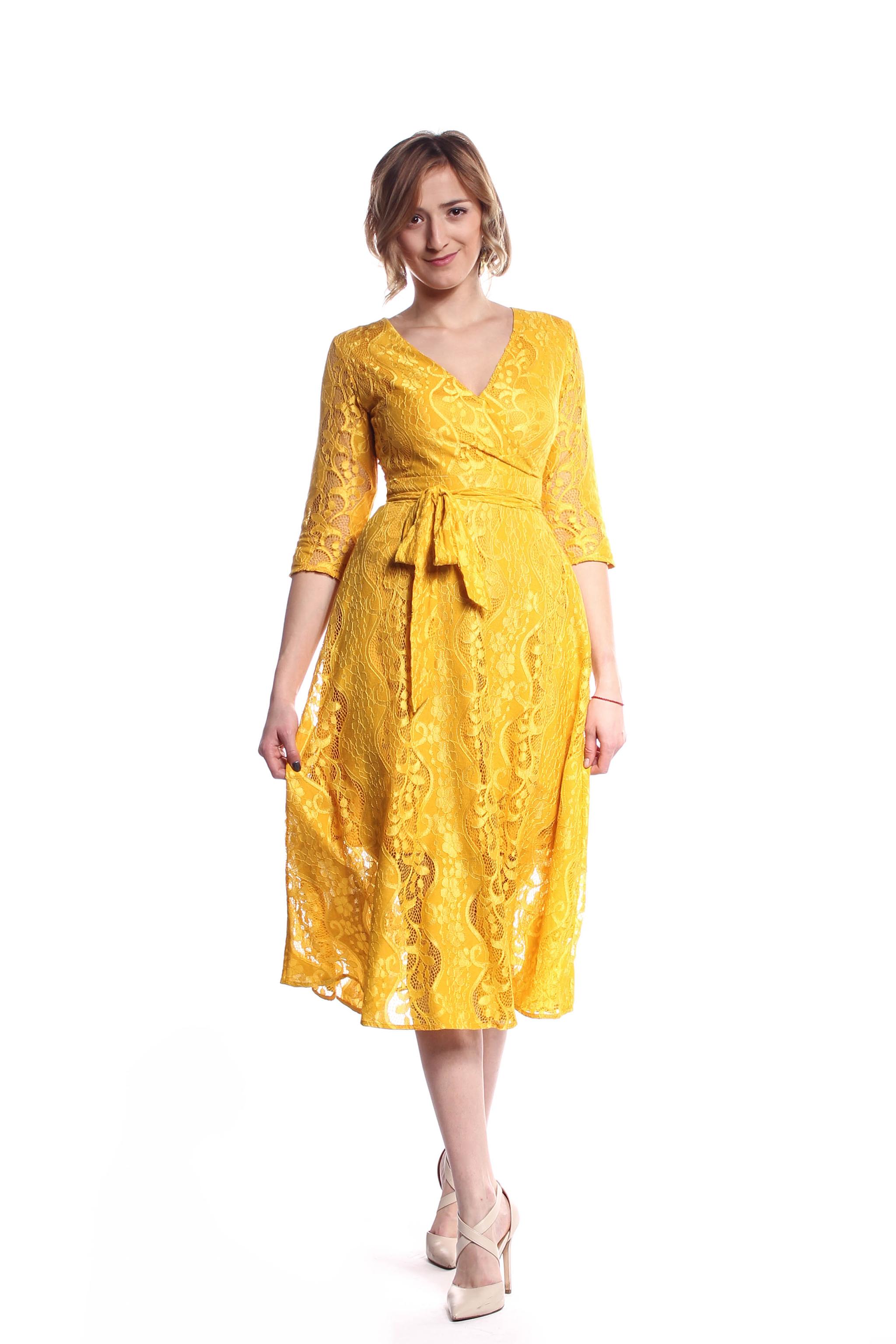 Žlté čipkované midi šaty (požičanie) - Shaty 03837732abb