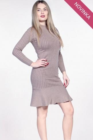 NOVINKA Béžové svetrové šaty