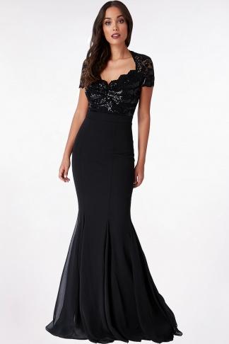 Obrázok 1 Čierne plesové šaty skrátkym rukávom