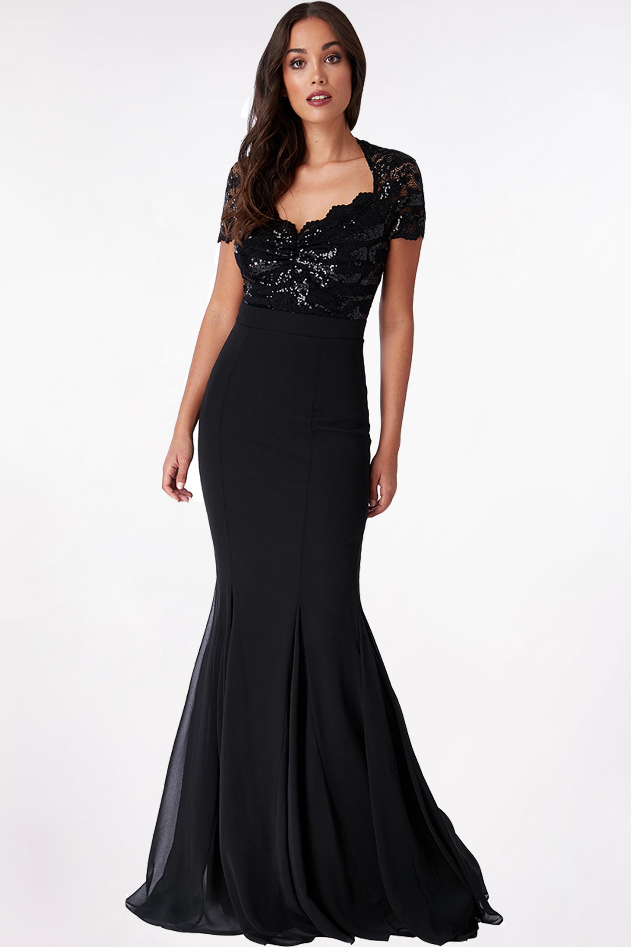 Obrázok 1 Čierne plesové šaty s krátkym rukávom 190f0f63768