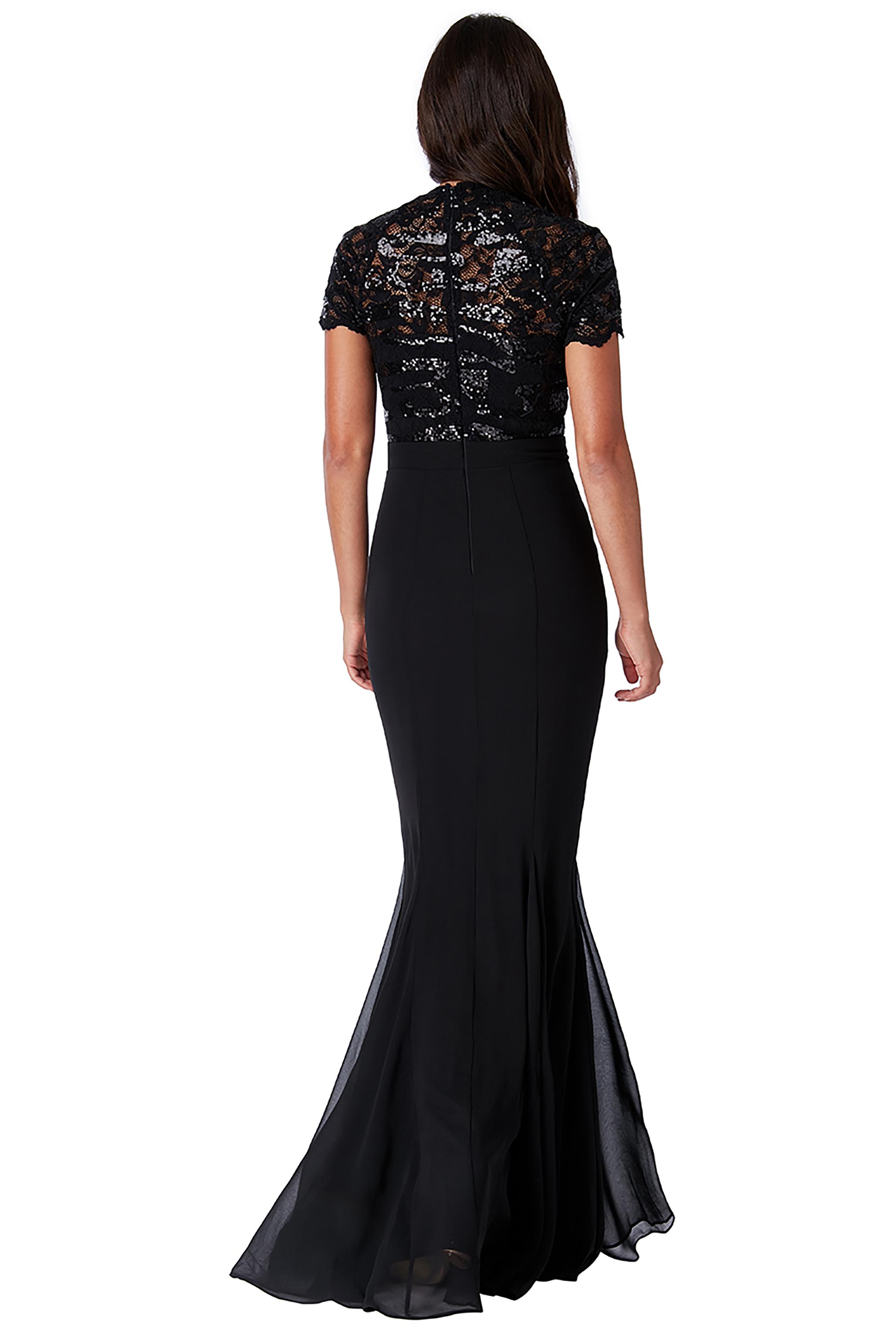 Obrázok 3 Čierne plesové šaty s krátkym rukávom cf7fc019e86